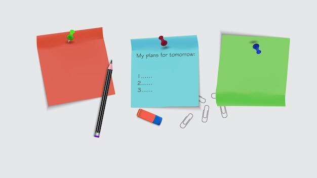 Vectorillustratie van veelkleurige stickers, vlakgom, potloden en paperclips.