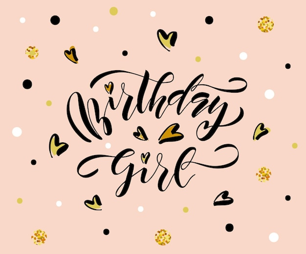 Vectorillustratie van verjaardag meisje tekst voor verjaardag ontwerp happy birthday eps 10