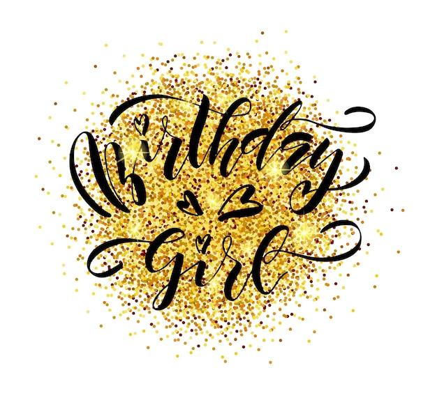 Vectorillustratie van verjaardag meisje tekst voor verjaardag ontwerp verjaardag meisje badge labelpictogram