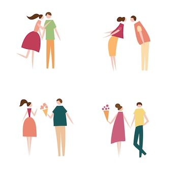 Vectorillustratie van verliefde paar. silhouet van romantische personen karakters. cartoon platte vector design voor logo, print, kaart, flyer, stof, poster.
