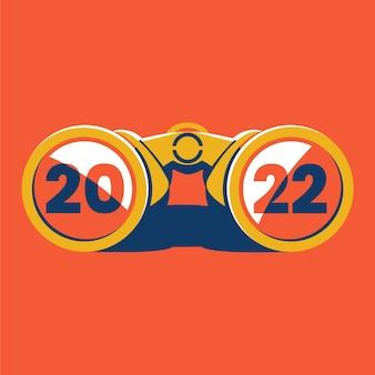 Vectorillustratie van verrekijkers met het jaar 2022