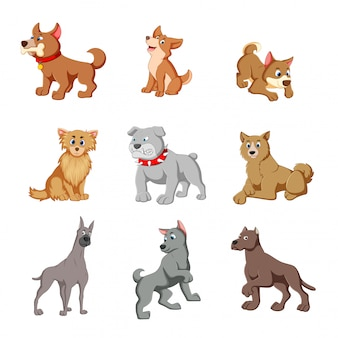 Vectorillustratie van verschillende schattige honden