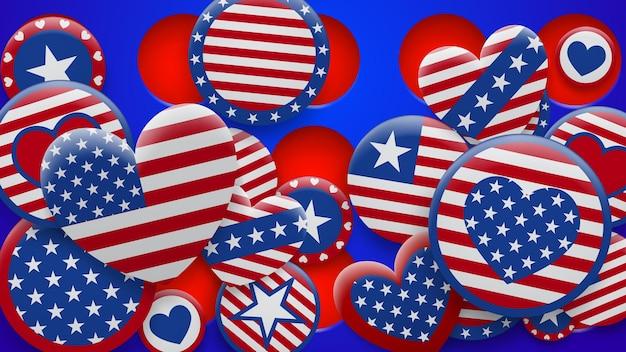Vectorillustratie van verschillende symbolen van de vs in rode en blauwe kleuren op de achtergrond met gaten. onafhankelijkheidsdag verenigde staten van amerika
