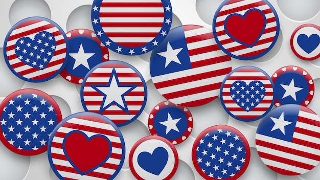 Vectorillustratie van verschillende symbolen van de vs in rode en blauwe kleuren op een witte achtergrond met gaten. onafhankelijkheidsdag verenigde staten van amerika