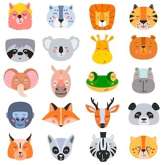 Vectorillustratie van verzameling van hoofden van diverse soorten wilde dieren op witte achtergrond