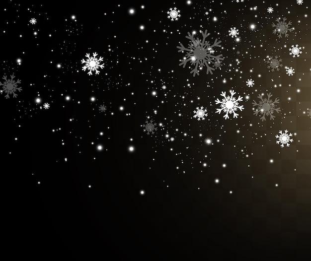 Vectorillustratie van vliegende sneeuw op een transparante backgroundnatuurlijk fenomeen van sneeuwval of bli