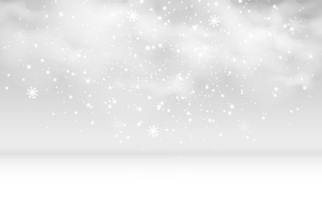 Vectorillustratie van vliegende sneeuw op een transparante backgroundnatuurlijk fenomeen van sneeuwval