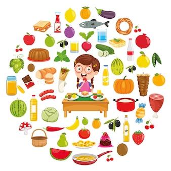 Vectorillustratie van voedsel conceptontwerp