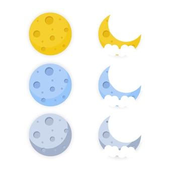Vectorillustratie van volle maan close-up en rond de sterren