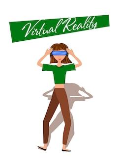 Vectorillustratie van vrouw in virtual reality headset met move controler.vr helm.cartoon realistische mensen set.platte jonge man.