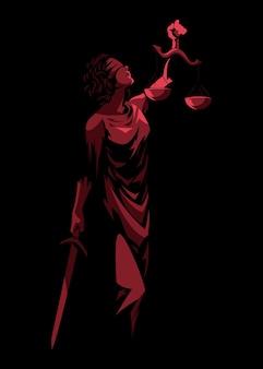Vectorillustratie van vrouwe van justitie met zwaard en weegschaal