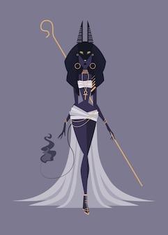 Vectorillustratie van vrouwelijke monster god anubis uit egypte