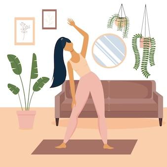 Vectorillustratie van vrouwen met lang zwart haar die thuis trainen