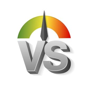 Vectorillustratie van vs letters als versus en schaal van groen naar rood op donkere achtergrond.