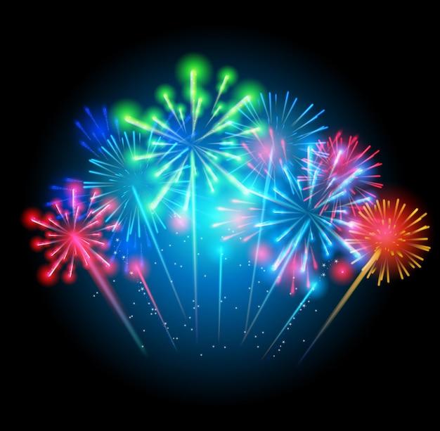 Vectorillustratie van vuurwerk, groet op een donkere achtergrond