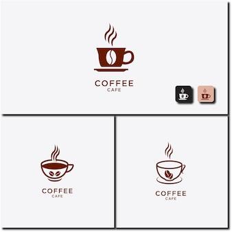 Vectorillustratie van warme koffiekopje icon set logo design