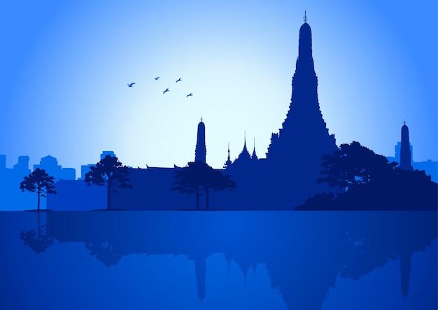 Vectorillustratie van wat arun temple in bangkok