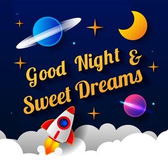 Vectorillustratie van wens welterusten op donkere paarse hemelachtergrond met maan. kunstontwerp voor web, site, reclame, spandoek, poster, flyer, brochure, bord, kaart