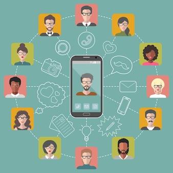 Vectorillustratie van wereldwijde communicatie en sociaal netwerk met verschillende mensen platte app pictogrammen.