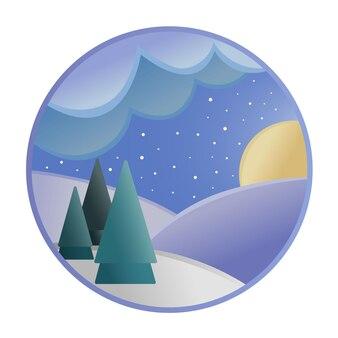Vectorillustratie van winteravond bos met maan, wolken en sneeuw.