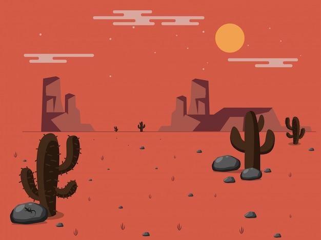 Vectorillustratie van woestijn.