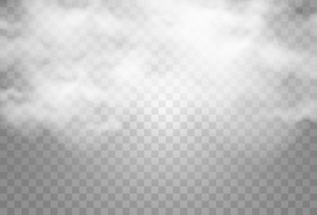 Vectorillustratie van wolken op een transparante achtergrondrealistische regenwolken Premium Vector