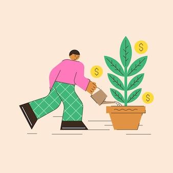 Vectorillustratie van zakelijke financiën een man die een geldboom water geeft en laat groeien, een abstracte scène van winstgroei fondsenwerving geld besparen?