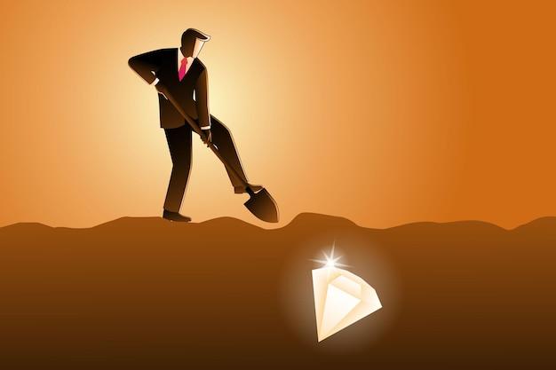 Vectorillustratie van zakenman graven met schop en zeer dicht bij succes met diamant onder land