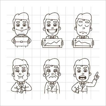 Vectorillustratie van zakenman met aktetas afbeeldingen blij boos huilen misselijkheid