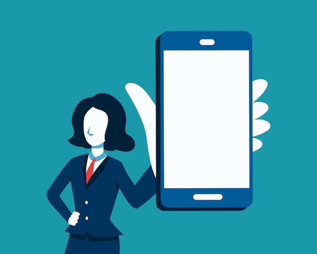Vectorillustratie van zakenvrouw en grote smartphone