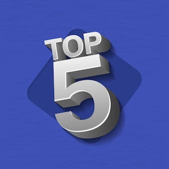 Vectorillustratie van zilver metaal gekleurde top 5 woorden op blauwe achtergrond.