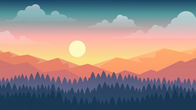 Vectorillustratie van zonsondergang scène in de natuur met bergen en bossen
