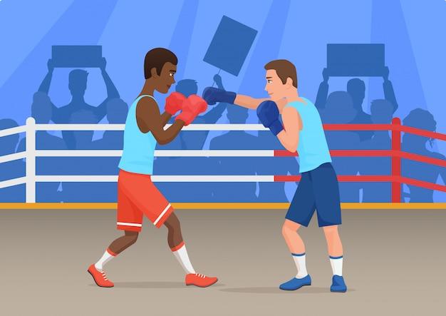 Vectorillustratie van zwarte en witte sportmannen die in ring in dozen doen.