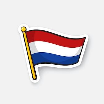 Vectorillustratie vlag van nederland op vlaggestok locatiesymbool voor reizigers sticker
