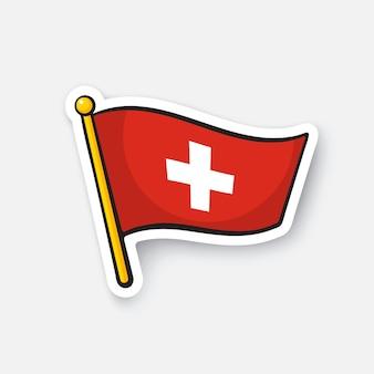 Vectorillustratie vlag van zwitserland op vlaggestok locatiesymbool voor reizigers sticker