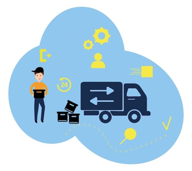 Vectorillustratie, vlakke stijl, diverse winkels, kortingen, aankoop van goederen en geschenken, het concept van winkelen en levering van goederen thuis koerier. online bestellingen.