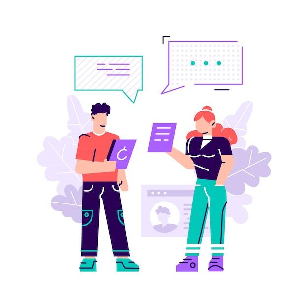 Vectorillustratie, vlakke stijl, nieuws, sociale netwerken, chat, dialoog tekstballonnen, websites.
