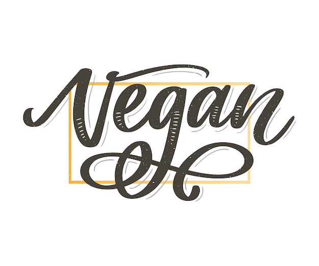 Vectorillustratie, voedselontwerp. handgeschreven letters voor restaurant, café-menu. vector-elementen voor labels, logo's, badges, stickers of pictogrammen. kalligrafische en typografische collectie. veganistisch menu