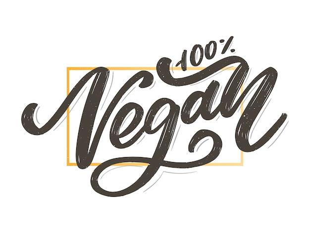 Vectorillustratie, voedselontwerp. handgeschreven letters voor restaurant, cafémenu. vector-elementen voor labels, logo's, insignes, stickers of pictogrammen. kalligrafische en typografische collectie. veganistisch menu