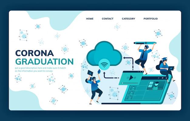 Vectorillustratie voor corona-afstuderen voor onderwijs