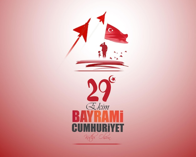 Vectorillustratie voor de onafhankelijkheidsdag van turkije 29 oktober