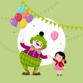 Vectorillustratiebeeldverhaal van een leuke clown die een roze ballon geeft aan een meisje.