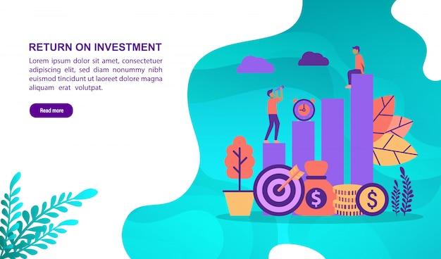 Vectorillustratieconcept terugkeer op investering met karakter. bestemmingspaginasjabloon