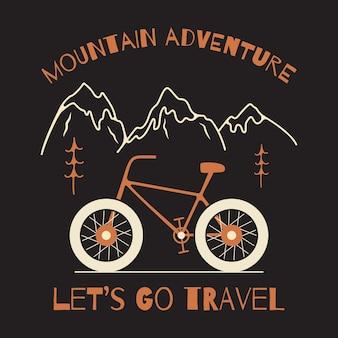 Vectorillustratiefiets te midden van mountain adventure-inscripties gemaakt als reis-t-shirtontwerp