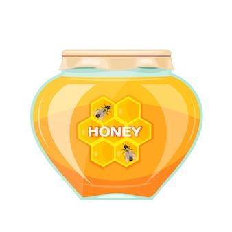 Vectorillustratiekruiken honing op een witte achtergrond. isoleren. glazen pot met een gele honing, papieren omslag en label. voorraad vectorillustratie