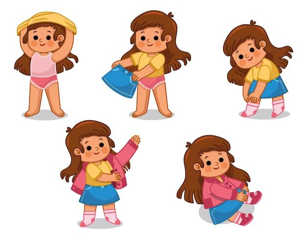 Vectorillustratiereeks van klein meisje dat haar kleren helemaal alleen draagt