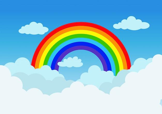Vectorillustratieregenboog en wolk op blauwe hemelachtergrond