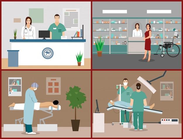 Vectorillustraties instellen met patiënten, artsen en ziekenhuisinterieurs. gezondheidszorg en geneeskunde concept. kliniekontvangst, massage, operatie operatie kamer