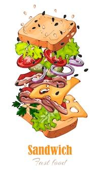 Vectorillustraties op het fastfoodthema: sandwich.