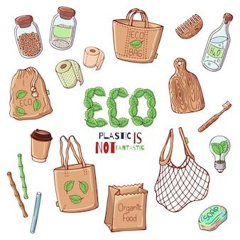 Vectorillustraties op het thema van de milieubescherming.